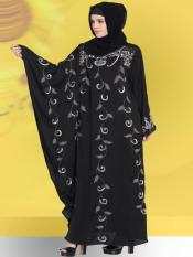 100% Polyester Satin Abaya with One Butterfly Sleeve Hand work in Black