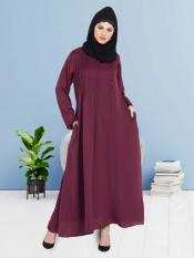 100% Polyester Satin Abaya With Pin Tuck Side Placket in Maroon