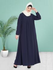 100% Polyester Crepe Abaya With Four Pleats At Bust in Navy Blue