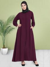 100% Polyester Crepe Abaya With Hidden Placket Front Open In Wine