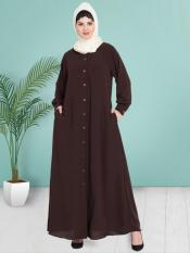 100% Polyester Crepe Abaya With Front Open Cuff And Band In Brown