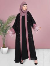 100% Polyester Crepe Dubai Kaftan With Contrast Band And Lace Pearls Embroidered in Black and Mauve