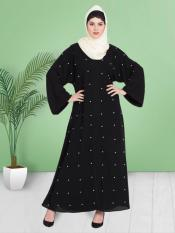 100% Polyester Crepe Dubai Kaftan With Pearls Embroidered Front Open in Black