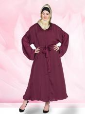 100% Polyester Satin Abaya Front Open With Belt In Wine