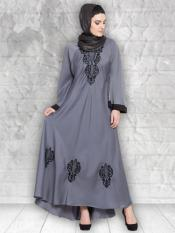 100% Polyester Satin Nida Abaya With Thread Embroidered Umbrella In Grey and Black