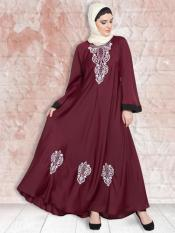 100% Polyester Satin Nida Abaya With Thread Embroidered Umbrella In Maroon and White