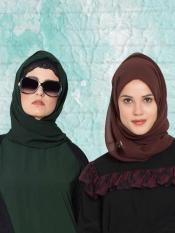 Super Fine Georgette Set of Two Stole Hijabs in Bottle Green and Purple
