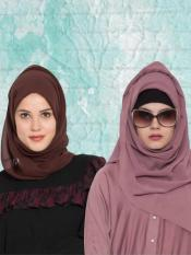 Super Fine Georgette Set of Two Stole Hijabs in Mauve and Brown