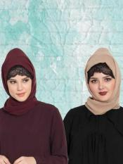 Super Fine Georgette Set of Two Stole Hijabs in Wine and Beige