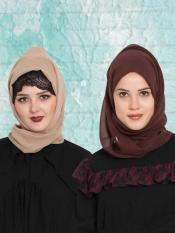 Super Fine Georgette Set of Two Stole Hijabs in Brown and Beige