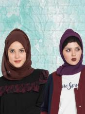 Super Fine Georgette Set of Two Stole Hijabs in Purple and Brown