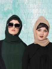 Super Fine Georgette Set of Two Stole Hijabs in Bottle Green and Beige