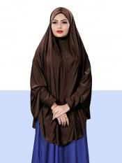 Jersey Chaderi Hijab With Veil And Sleeves In Brown