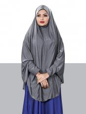 Jersey Chaderi Hijab With Veil And Sleeves In Grey