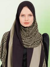 BSY Korean Material Printed Scarf Hijab In Cream