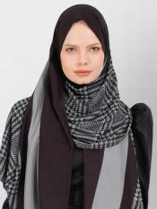 BSY Korean Material Printed Scarf Hijab In Grey