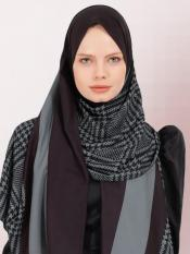BSY Korean Material Printed Scarf Hijab In Metallic Grey