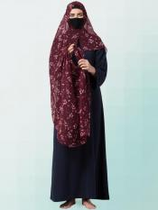 Chiffon Two Loop Instant Hijab In Brown Print