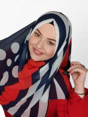 Georgette Scarf Hijab With Polka Dot Strips Print In Blue