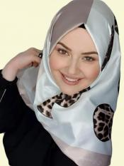 Satin Silk Square Hijab With Polka Dot Printed In Multicolor
