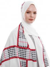 Russian Crisp Scarf Hijab With Checked Strips Print In White
