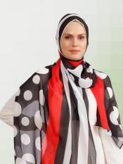 Georgette Scarf Hijab With Polka Dot Strips Print In Black