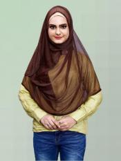 Two Loop Net Lycra Instant Hijab In Brown