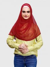 Two Loop Net Lycra Instant Hijab In Red