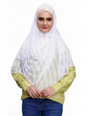 Two Loop Net Lycra Instant Hijab In White