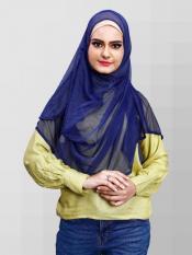 Two Loop Net Lycra Instant Hijab In Blue