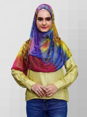 Soft Net Lycra Instant Hijab In Multicolor