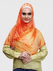 Two Loop Net Lycra Instant Hijab In Orange
