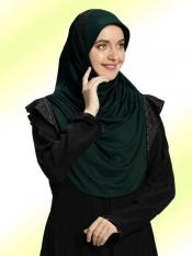 Naaz Knitted Icra Fabric Instant Hijab In Bottle Green