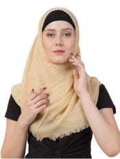 Crinkled Cotton Mesh Sparkling Womens Stole In Golden