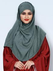 Viscose Soft Cotton Motti Patta Pearl Work Instant Hijab In Turquoise