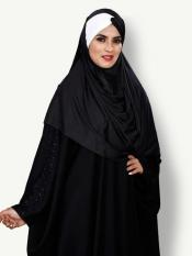 Turban Style Chiffon Lycra Tie Knot Plain Instant Hijab In Black And White