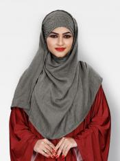 Viscose Soft Cotton Motti Patta Pearl Work Instant Hijab In Silver
