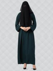 Nida Matte Abaya And Georgette Naqaab With Kimono Sleeves In Green And Black