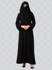 Nida Matte Abaya And Georgette Naqaab With Kimono Sleeves In Black