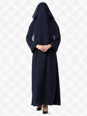 Nida Matte Abaya And Georgette Naqaab With Kimono Sleeves In Navy Blue