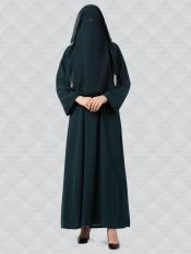 Nida Matte Abaya And Georgette Naqaab With Kimono Sleeves In Bottle Green