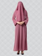 Nida Matte Abaya And Georgette Naqaab With Kimono Sleeves In  Puce Pink
