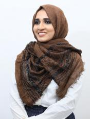 Crinkled Cotton Stole With Glittering Thread Work In Brown