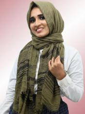 Crinkled Cotton Stole With Glittering Thread Work In Olive
