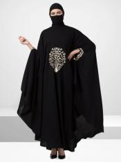 Nida Matte Irani Kaftan With Chikan Work In Black