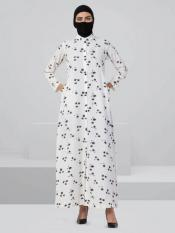 Crepe Front Open Abaya With Buttons In Black And White