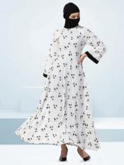Crepe Abaya With Zipper Opening On Shoulder In Black and White
