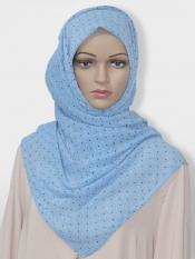 Georgette Stole With Dot Print In Sky Blue