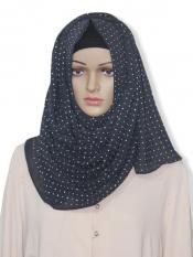 Georgette Stole With Dot Print In Dark grey