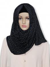 Georgette Stole With Dot Print In Black